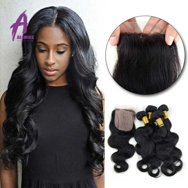 Body Wave Silk Base Closure With Bundles4 Pcs Lot Rosa Hair Products With Closure Brazilian Hair Weave Bundles With Closure