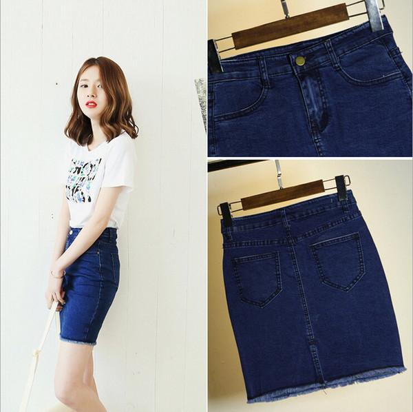 2016 vestiti delle donne estate denim gonne donna sexy vita alta rovesciato signore matita sottile mini brevi jeans gonne per le donne