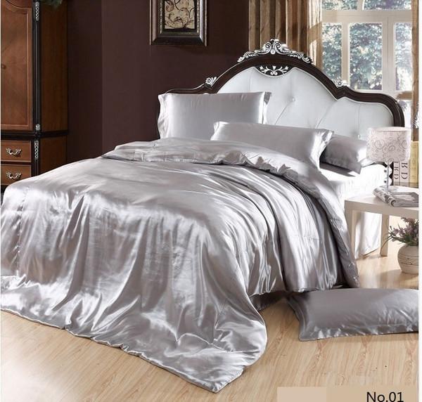 Wholesale-7pcs Silver satin Silk grey bedding set California king queen size quilt duvet cover brand sheet bed bedsheet bedspread bedsheet