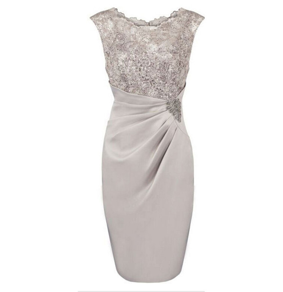 Hot Selling Knee Length Chiffon Scoop Mother Of the Bride Dresses In Stock with Lace Beaded
