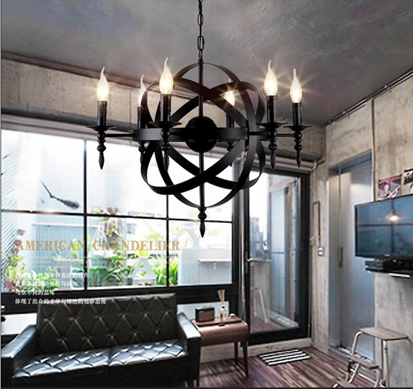 Iron Candle Globe Suspension Lights Modern Pendant Lamps Industrial Style Retro Dining Room Living