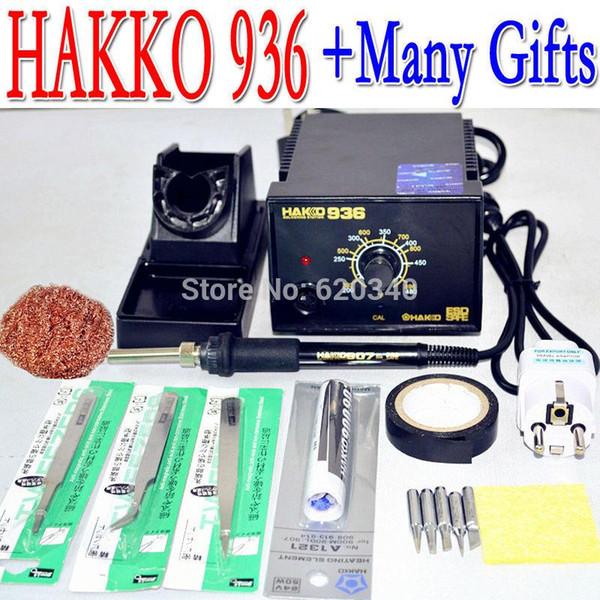 Frete grátis 220 V HAKKO 936 estação de solda Ferro elétrico + A1321 núcleo aquecedor de cerâmica + 5 pcs ponta de ferro / presentes + UE Plug Conversão A2