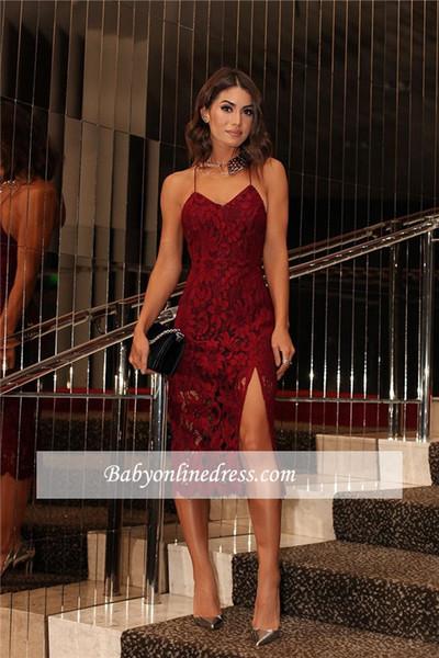 Großhandel 2018 Burgund Spitze Celebrity Prom Dress Backless Zwei ...