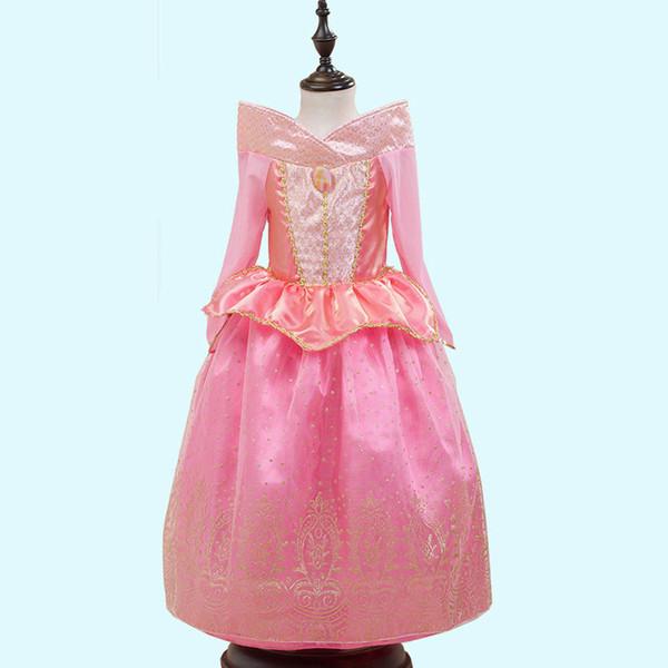 Pink Sleeping Beauty Princess Dresses Aurora Party Dresses Children Child Girls Costume Halloween XMAS Clothing HH-A09
