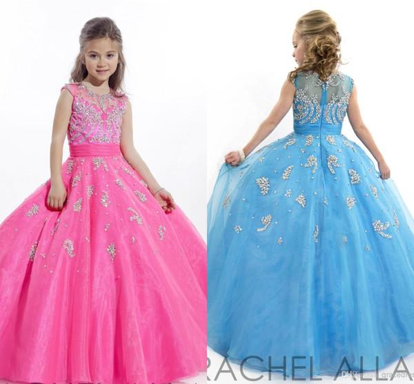 Beauty Little Girls Glitz Vestidos de fiesta Vestido de bola Joya Cuentas Apliques Azul y fucsia Piso Longitud Niños Vestidos de niña de flores HY0794