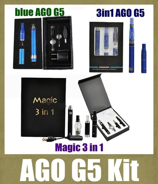 Electronic cigarette Magic 3 in 1 starter Kit with EVOD Battery Wax Dry Herb E liquid Atomizers ago g5 vaporizer pen vapes kit dhl TZH11