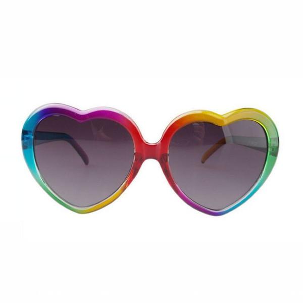 Heart Shaped Sunglasses For Women Vintage Colorful Acetate Frame 57mm Grey Lenses Designer Love Glasses Eyewear