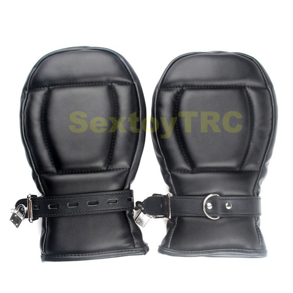 Fetish Bondage Gimp Dog Paws Lockable Mitts Locking Dog Palm Cuffs Black Red BDSM Gear Puppy Slave Play Costume Hands Restraint Gloves