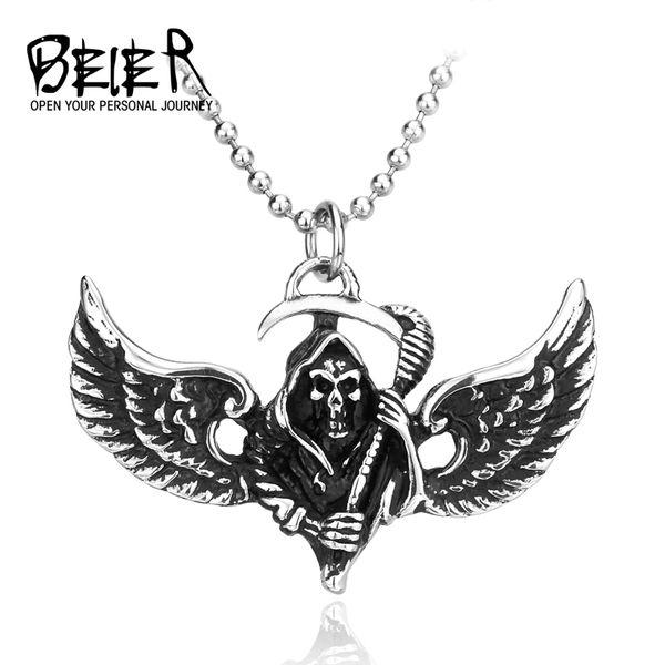 Stainless Steel Punk Grim Raper Skull Pendant With Wing Death Skull Pendant BP8-043 FG1510