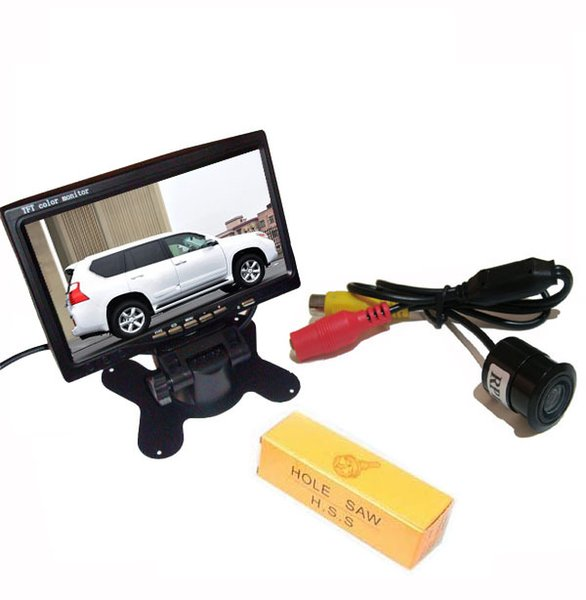 "Car Rear View Kit 7""LCD Screen Monitor + Mini waterproof Reverse Parking Backup Camera 170 wide Angle"