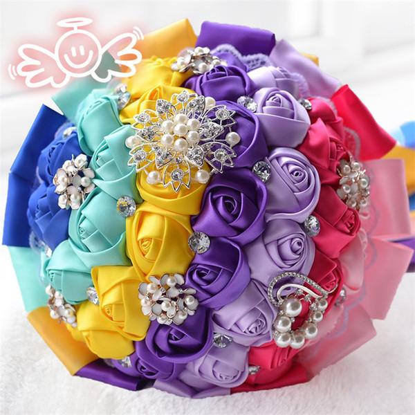 Rainbow Bridal Wedding Bouquet Luxury Rhinestone Wedding Flowers