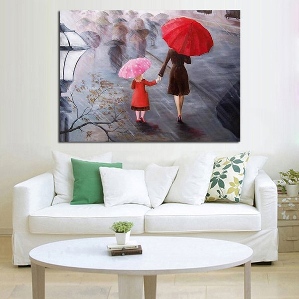 Handpainted Beautiful View in the Rain Abstract Art Home Decor on Canvas New Design Home Decoration Wall Pictures Oil Paintings