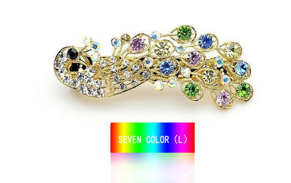 New Korean Fashion Retro Peacock Full Crystal Rhinestones rhinestone hair accessories hairpin side clip jewelry female