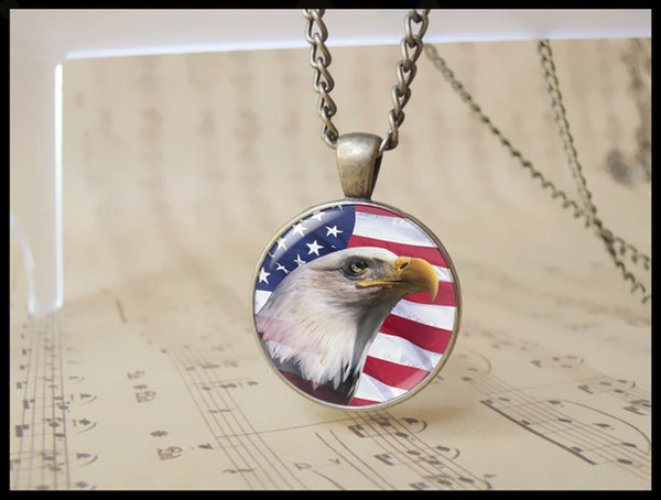 handmade American Bald Eagle flag pendant Necklace vintage USA independence day Cabochon jewelry usa national flag 12pcs 1367