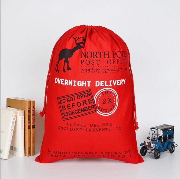 50*70cm Christmas decorations high quality larger capacity red green cotton canvas Christmas gift bags reindeer drawstring bags socks bags