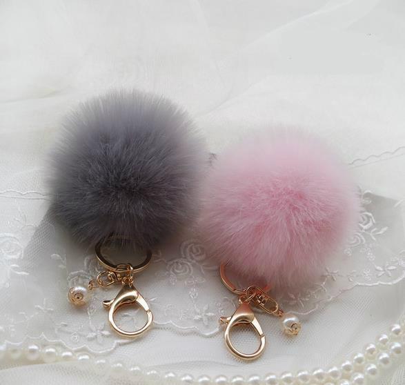 best selling Cute Genuine Leather Rabbit fur ball plush key chain for car key ring Bag Pendant car keychain