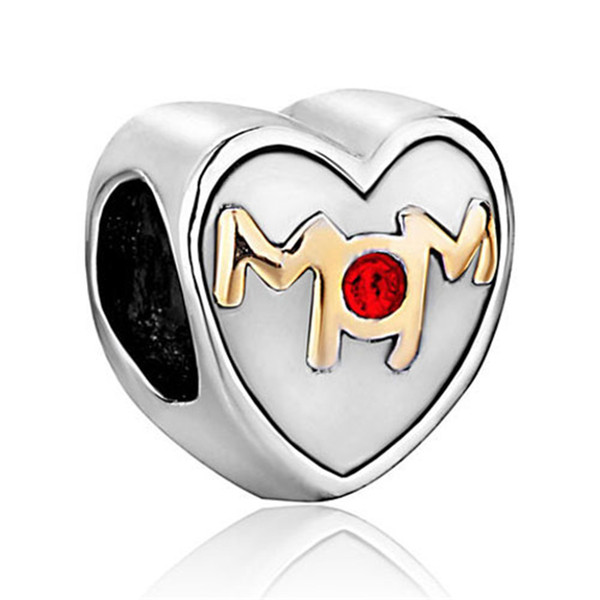 Metal Slider Spacer Big Hole Family Love Mom Birthstone Crystal European Bead Fit Pandora Chamilia Biagi Charm Bracelet