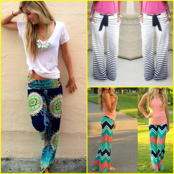 best selling Newest Women Boho Ethnic Pants Bohemian Floral Print Wid Leg Loose Pants Striped Trousers Waves Bottoms F107