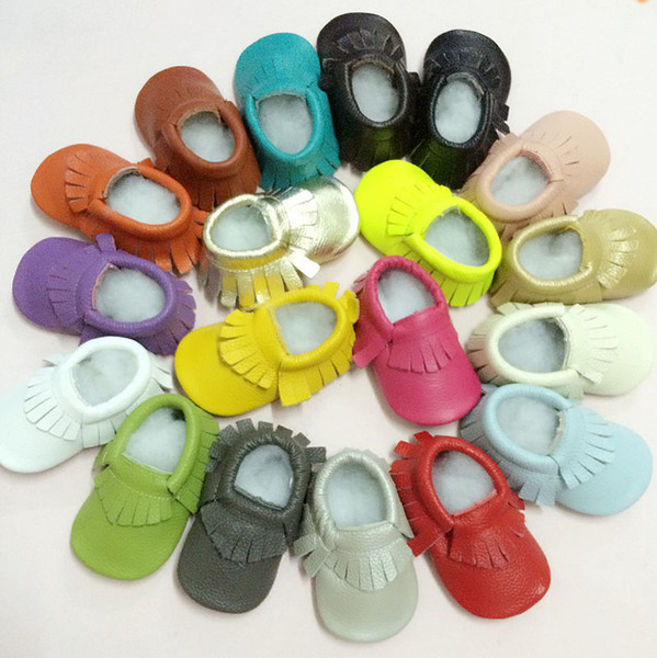 Baby kids Slip-On shoes booties Boys Girls genuine leather tassel moccasins soft leather baby first walker shoes 17 colors high quality