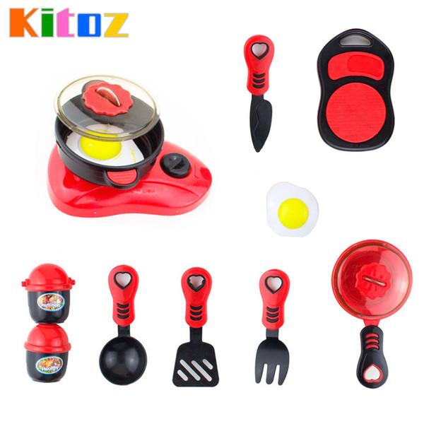 Wholesale- Kitoz Mini kid's Kitchen Toy Frying Pan Pot Dish Model Pretend Cooking Toys Set Tableware Utensils for Girl Boy Children