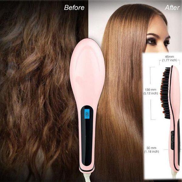 Ceramic Straighten Brush Hair Straightener Electric Straight Hair Comb Straightener Iron Digital temperature control With LCD Display