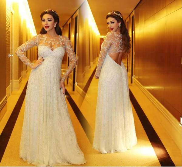 Myriam Fares Prom Dresses Luxury Crystal Beading Lace Formal Evening Dresses Long Sleeves Ball Gowns With Empire Shape Lace Gowns