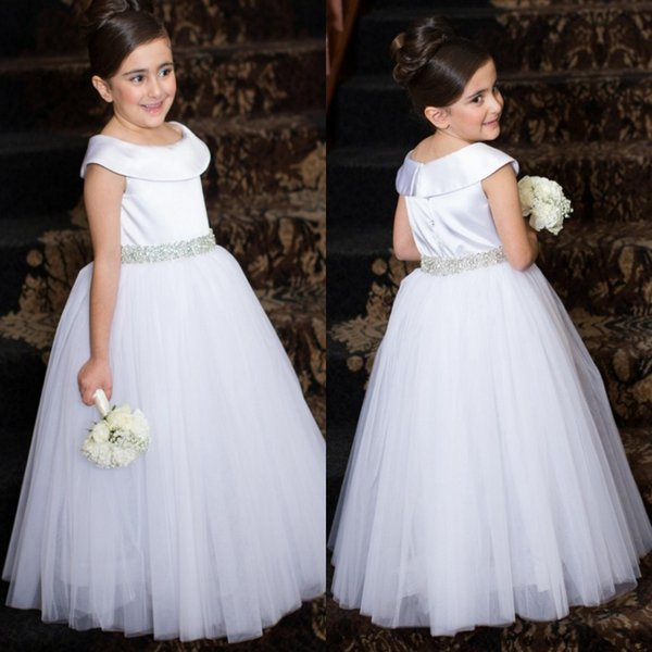 White Wedding Party Flower Girl Dresses Satin Cap Sleeves A Line Full Length with Beaded Crystals Belt Tulle Birthday Party Gowns BA1412