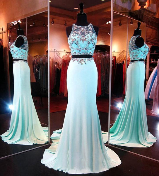 2017 Light Sky Blue Two Pieces Prom Dresses Real Image Sexy Sheer Crew Neck Sheath Evening Party Gowns With Bling Crystals Beads BA1842