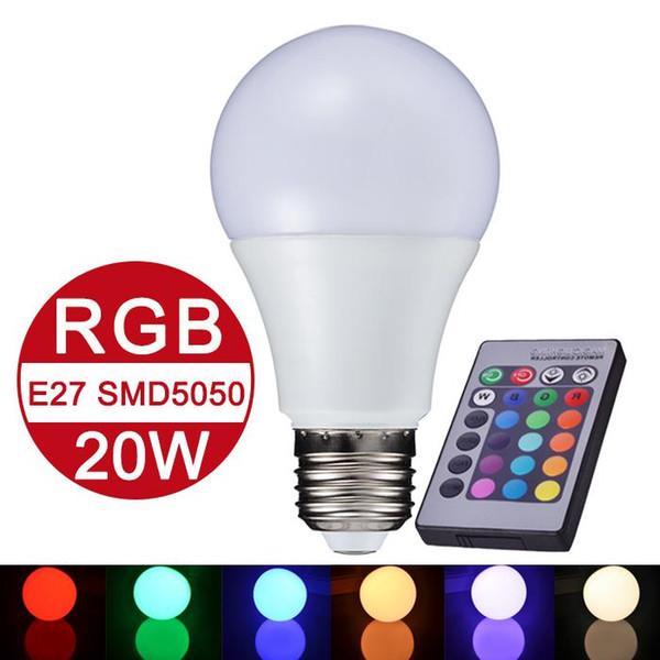 best selling NEW E27 RGB LED Lamp 10W 15W 20W LED RGB Bulb Light Lamp 110V 220V Remote Control 16 Color Change Lampada LED Global Light Luz A65 A70 A80