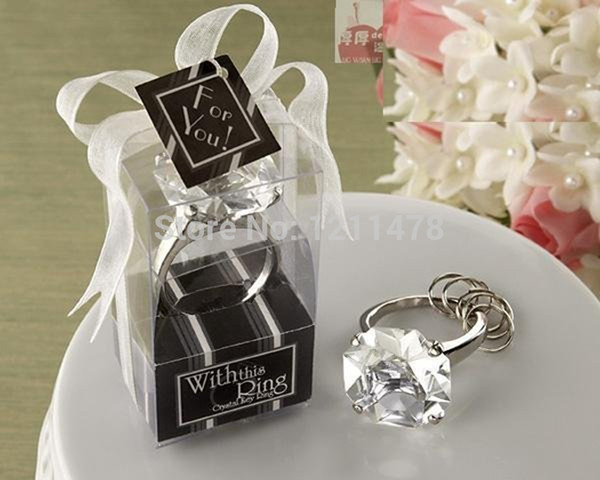 Personalized party souvenir gift artificial crystal diamond keyring for guest wedding souvenirs