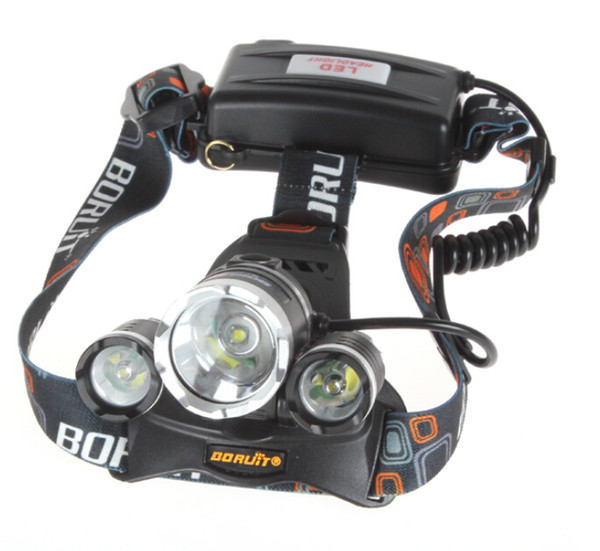 Good price 5000 Lumen T6+2R5 Boruit Head Light Headlamp Outdoor Light Head Lamp HeadLight Rechargeable Free DHL Shipping