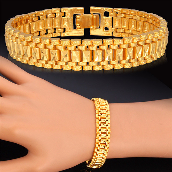 top popular 18K Gold Bracelet Men Jewelry Rock Style Platinum Plated 19cm 12MM Thick Chain Link Bracelet Wholesale 2019