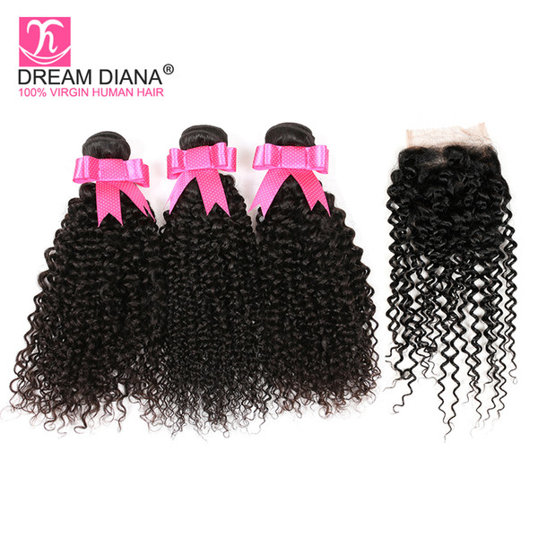 Yvonne Brazilian Kinky Curly Hair 4Bundles With Closure Afro Kinky Curly Virgin Hair Extension Cheap Curly Human Hair Weave