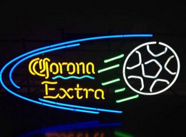 "Corona Extra Football Neon Sign Custom Handmade Bar KTV Club Disco Motel Game Room Advertising Display Neon Sign Real Glass Tube 19""X15"""