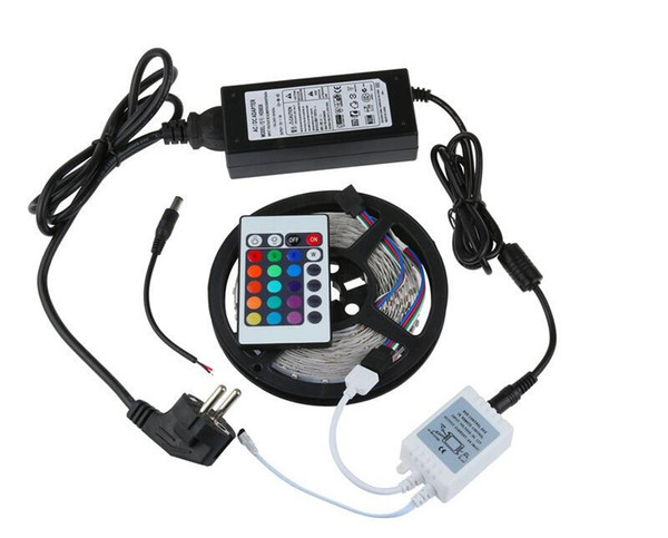 RGB White Red Green Blue 3528 SMD 5M 12V 300LEDs LED Strip Light Non Waterproof With IR Remote Controller + DC 2A Power Supply