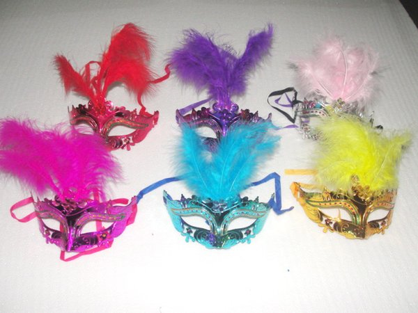 2016 new Gold powder painting feather mask venetian masquerade party decoration carnival mardi gras bar prop wedding gift mix color 10pcs