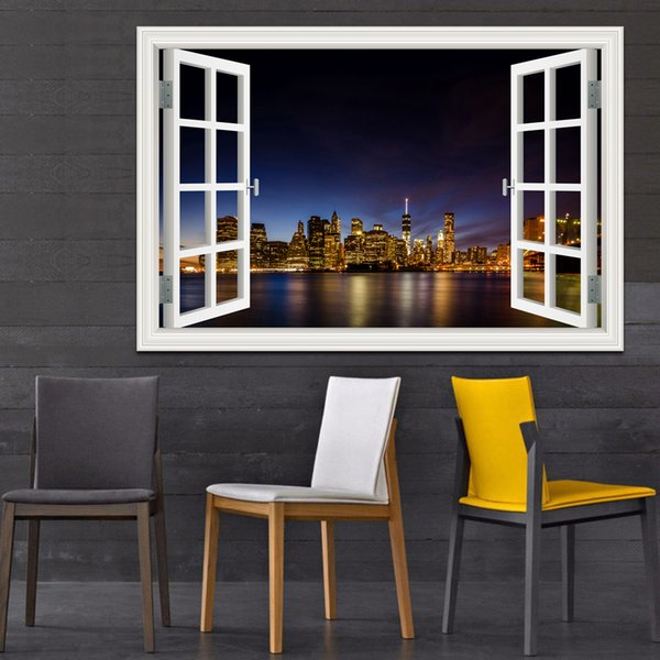 New York Brooklyn Magnificent Night View Adesivo da parete 3D di alta qualità Paesaggio rimovibile Finestra Vista Wall Art Home Decor