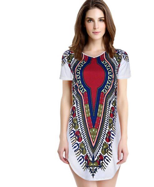Wholesale-Jimshop New 2016 Women Summer Dress Traditional African Print Dashiki Party Dresses Short Sleeve T shirt Dress Plus Size Tops