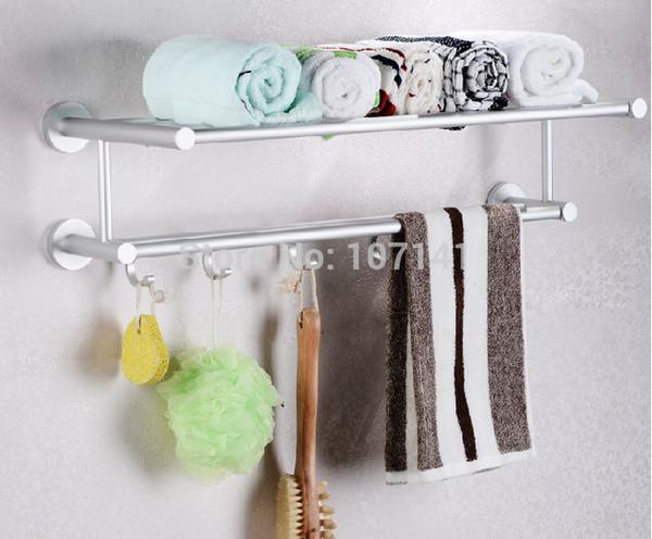 best selling New Bath Towel Rack hanger Space Aluminum Bathroom Towel Shelf With Five Hooks
