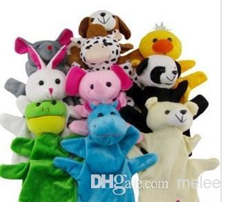 100pcs/lot 10 Animal hand Glove Dolls big Plush Puppet Hand Toy Child Zoo Farm Animal Hand Glove Puppet Finger Sack Plush Toy