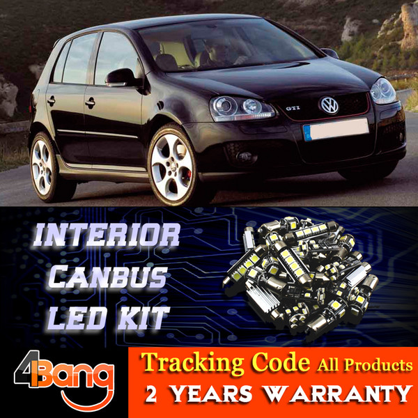 For VW Golf 5 GT 2003~2008 Car Canbus Interior LED Kit Dome Map License  Plate Number Tag Side Door Light Error Free Cars Led Lights Cars Lighting  From