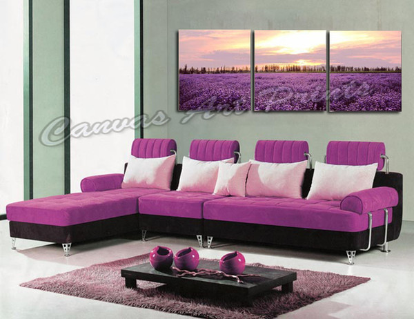 Cheap Home Decorative Wall Art Prints Panels Painting Floral 3 Piece Canvas Art Sets of Lavender Flower Framed Art Prints for Living Room
