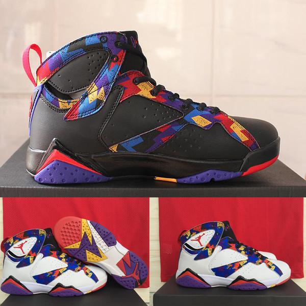 Compre Air Jordan De Nike Vii 7 Zapatos De Baloncesto De Los Hombres Retros Del Suéter De Los Blancos Negro, Barato Al Por Mayor Para Los Hombres AJ7