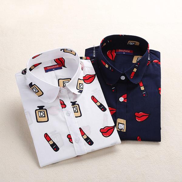Gros-Coton D'été Femmes Blouses Imprimer Chemises À Manches Longues Vintage Dames Hauts Grandes Tailles Blusas Femmes Plus La Taille 5XL Vêtements 2017