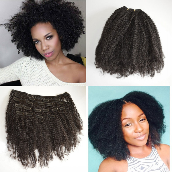 top popular Mongolian afro kinky clip in curly human hair extensions for american african can be dyed 8-24 inch natural black clip ins G-EASY 2019