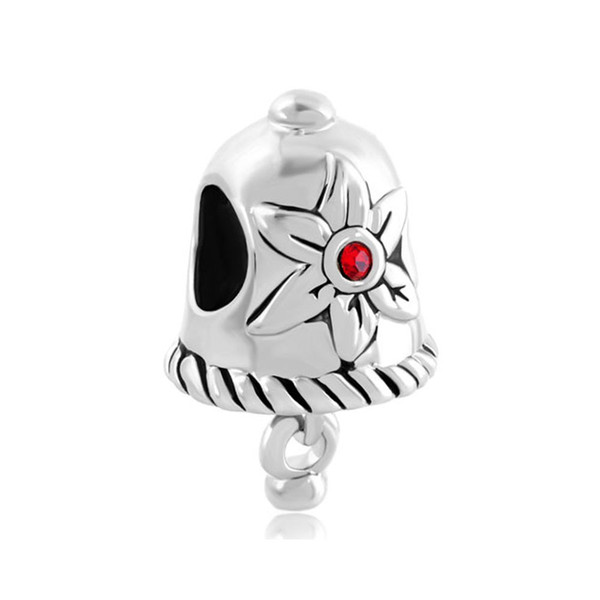 Christmas red crystal flower Jingle Bell charm Silver color Bead European Charm For Pandora Charm Bracelet