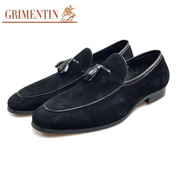 GRIMENTIN Hot sale Italian tassel slip-on men loafers fashion black blue mens dress shoes suede leather formal business wedding male shoes
