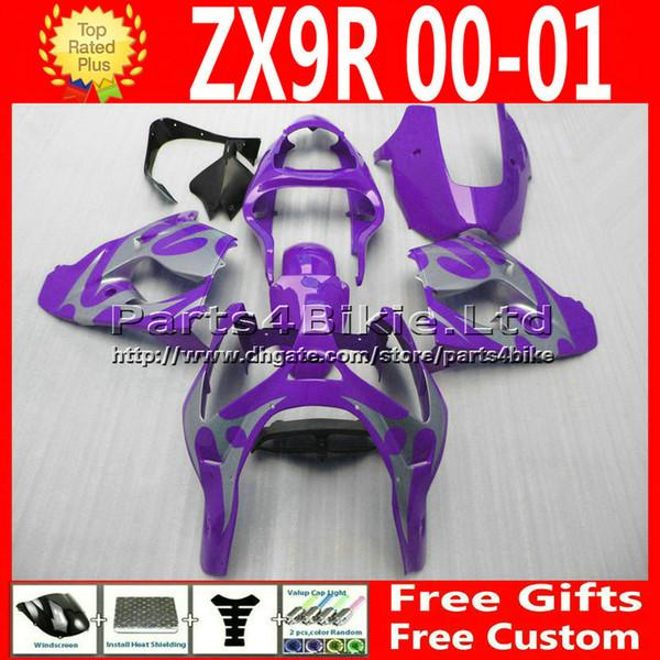 Kits de carénages d'usine en plastique ABS personnalisés pour Kawasaki Ninja zx9r 2000 2001 ZX9R 00 01 ZX-9R pièces de carénage de moto en argent violet 7R