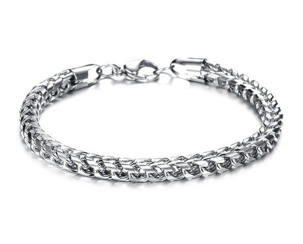 Fashion Jewelry Stainless Steel Titanium Silver Chains Men Bangle Bracelet Male Charm Thick Wristband Bracelet FL672