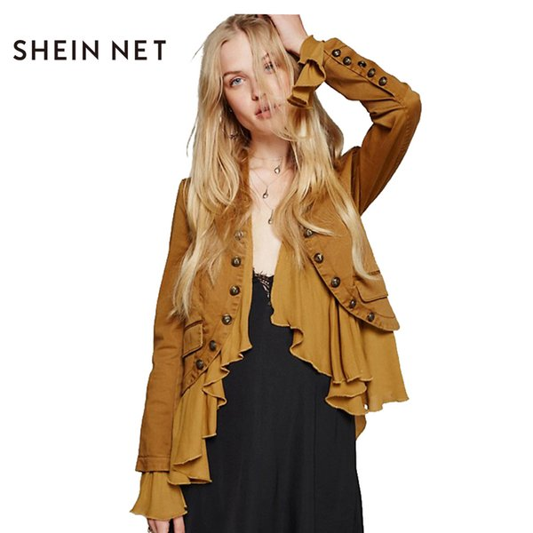 Sheinnet Apparel Ruffle Chic Women Jacket Coat Yellow Casual Chic Romantic Falbala Jacket Autumn Buttons Frill Elegant Outwear